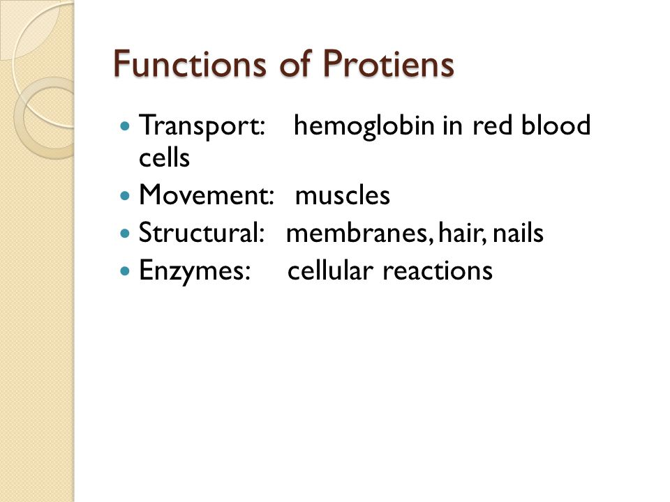 Functions of Protiens Transport: hemoglobin in red blood cells