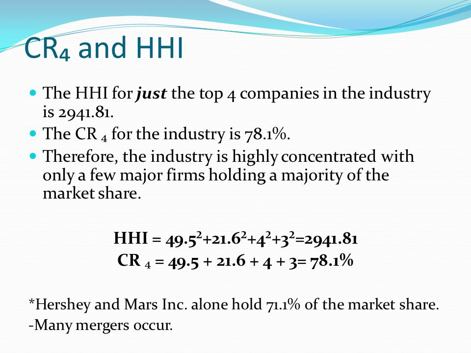 CR₄ and HHI The HHI for just the top 4 companies in the industry is 2941.81. The CR ₄ for the industry is 78.1%.