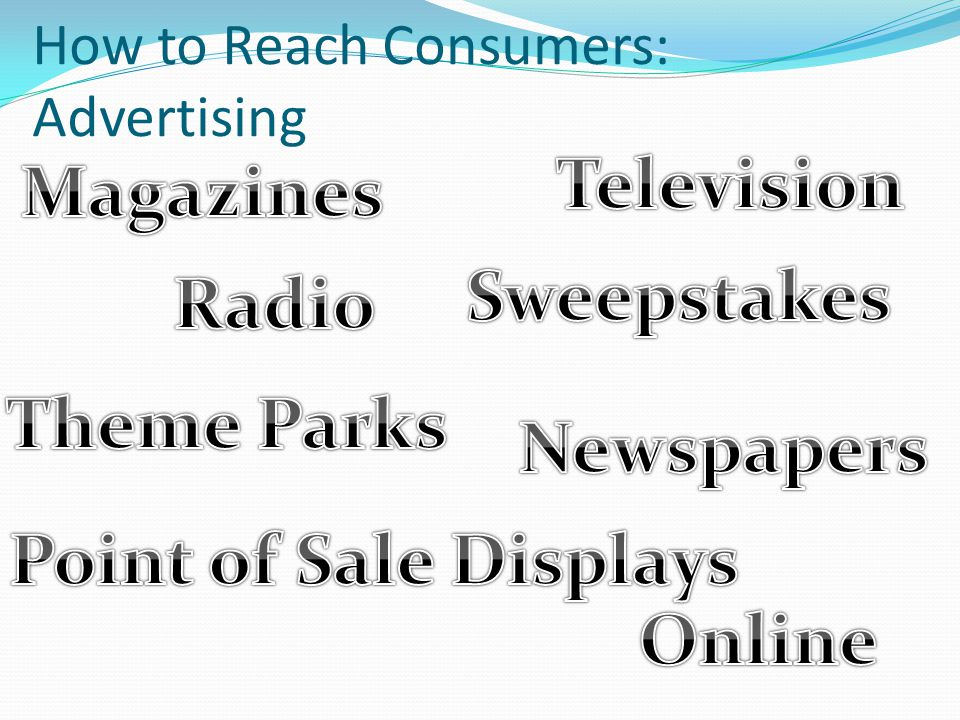 How to Reach Consumers: Advertising