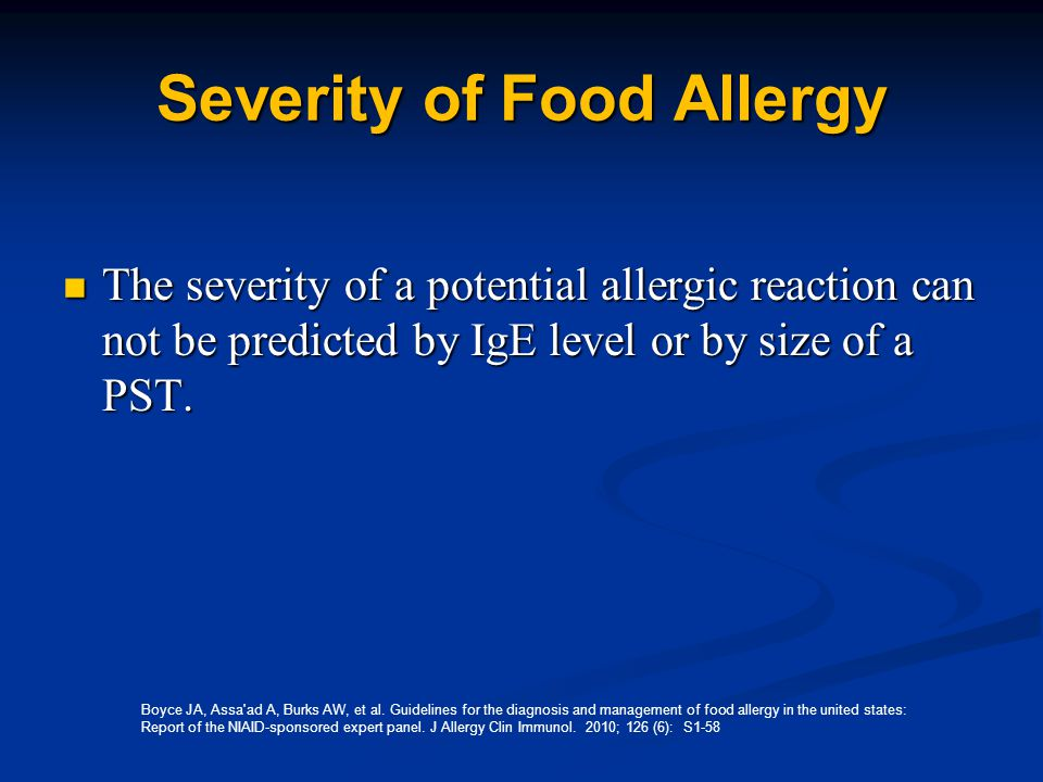 Severity of Food Allergy