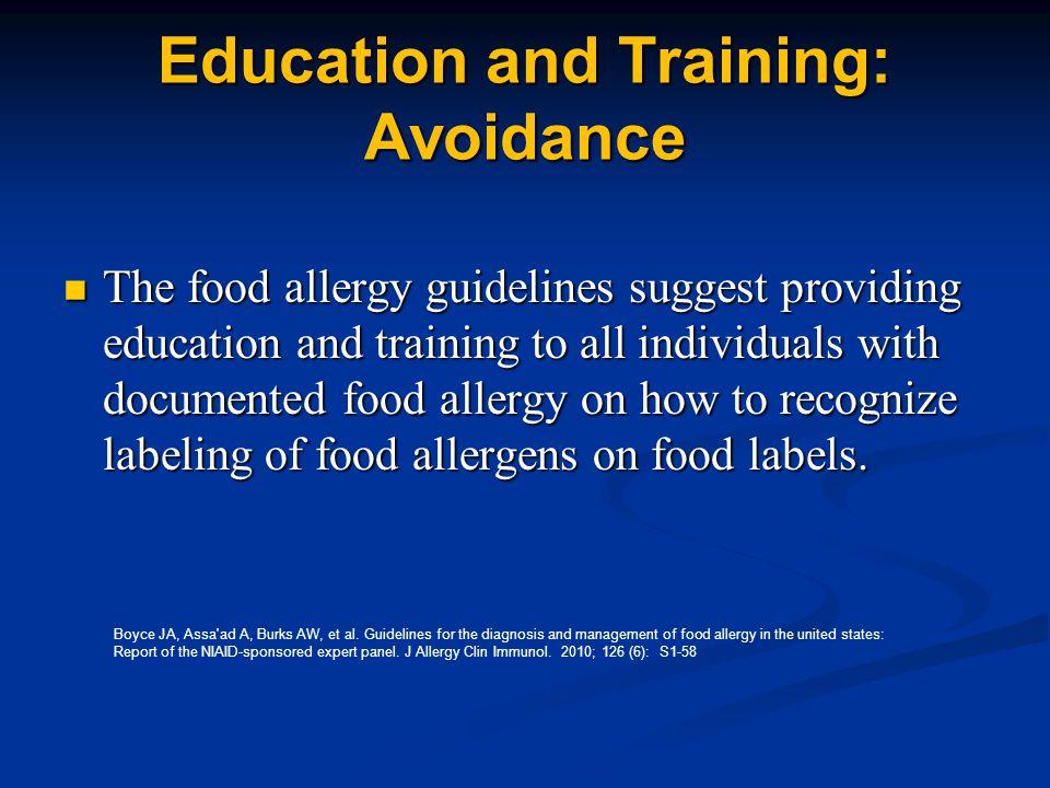 Education and Training: Avoidance
