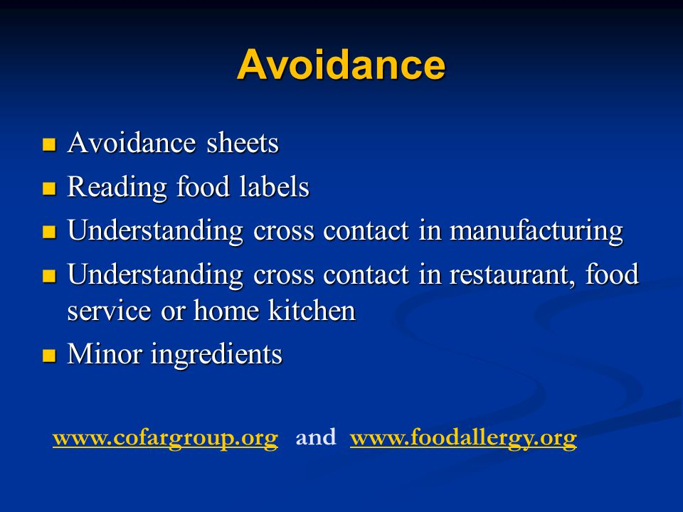 Avoidance Avoidance sheets Reading food labels