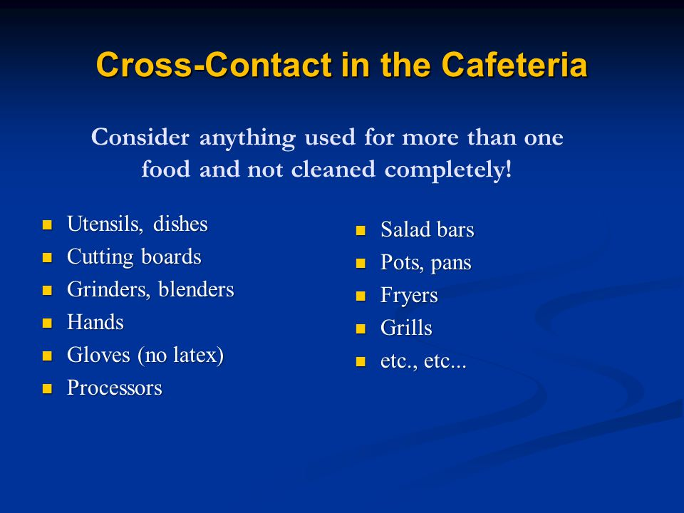 Cross-Contact in the Cafeteria