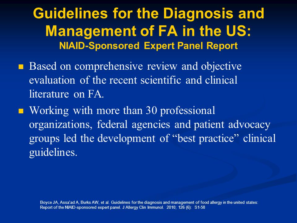 Guidelines for the Diagnosis and Management of FA in the US: NIAID-Sponsored Expert Panel Report