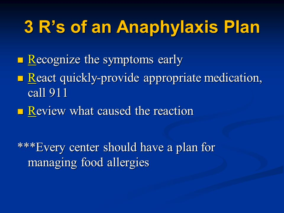 3 R's of an Anaphylaxis Plan