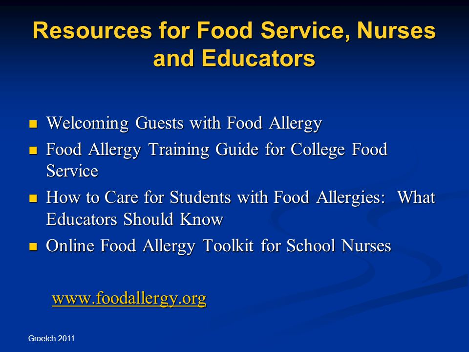 Resources for Food Service, Nurses and Educators