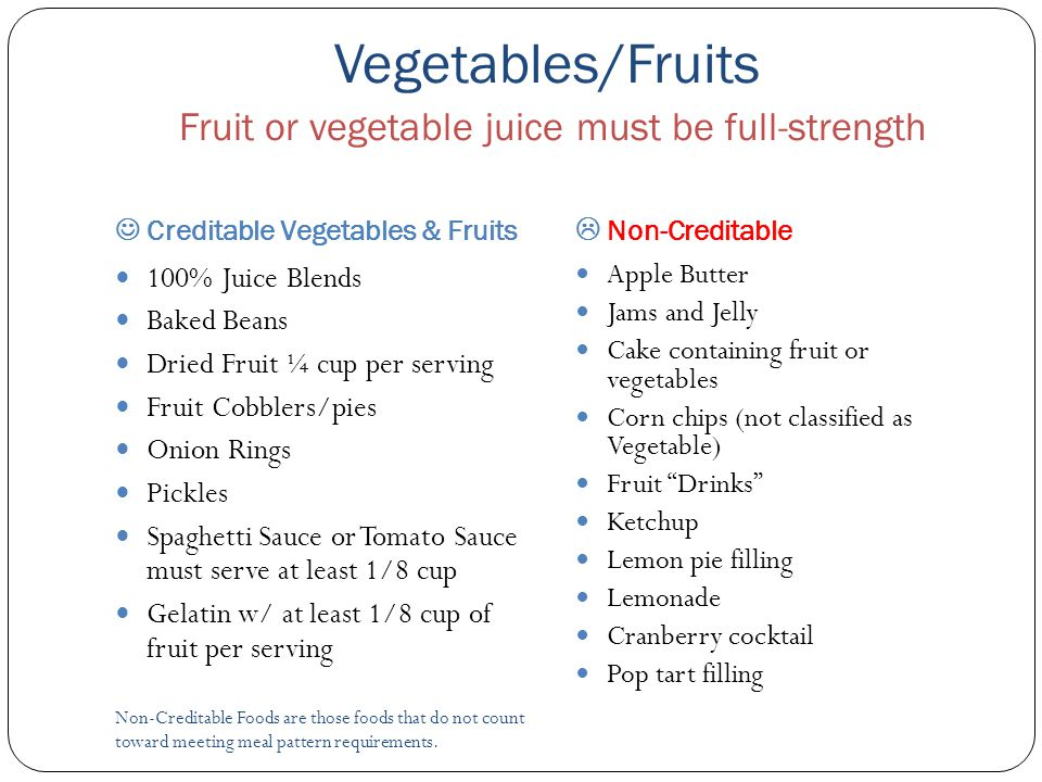 Vegetables/Fruits Fruit or vegetable juice must be full-strength