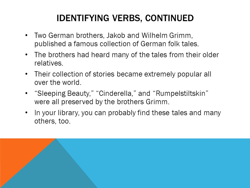 identifying verbs, continued