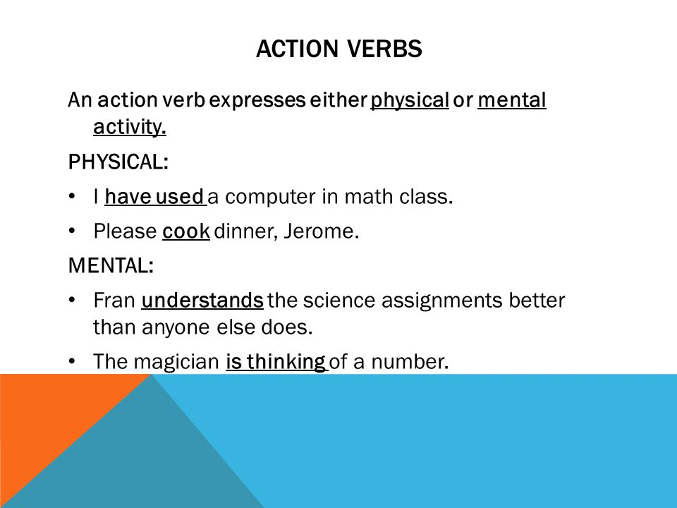 action verbs An action verb expresses either physical or mental activity. PHYSICAL: I have used a computer in math class.