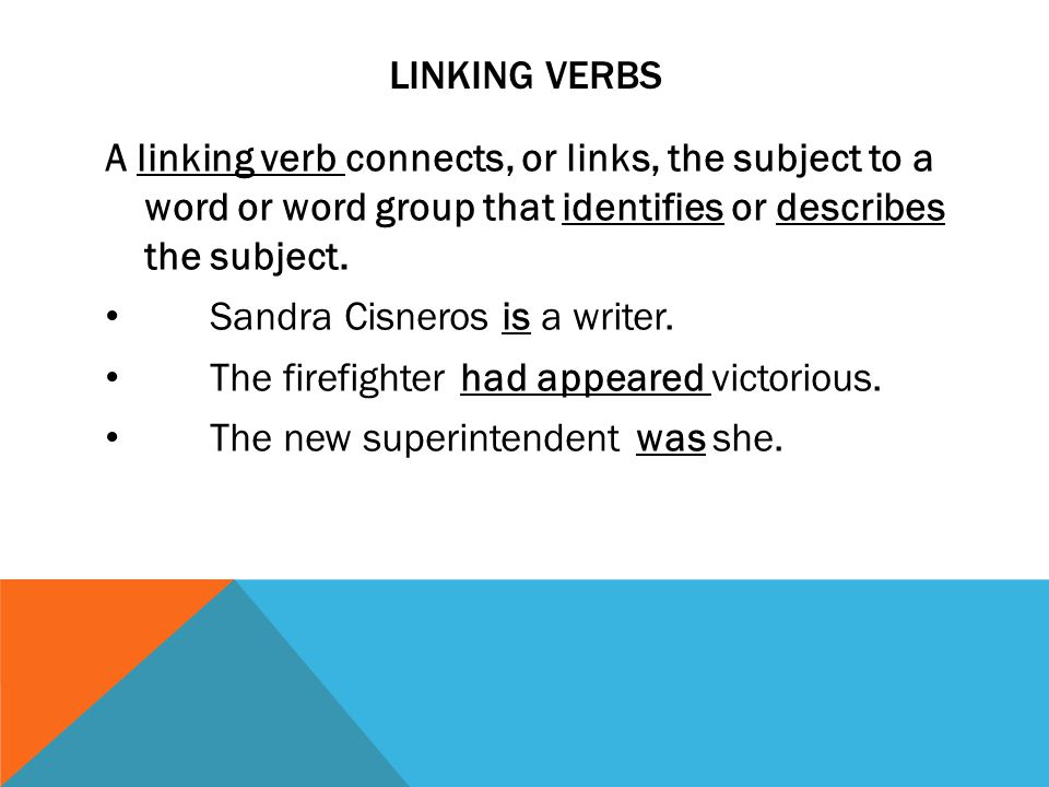 Linking verbs A linking verb connects, or links, the subject to a word or word group that identifies or describes the subject.