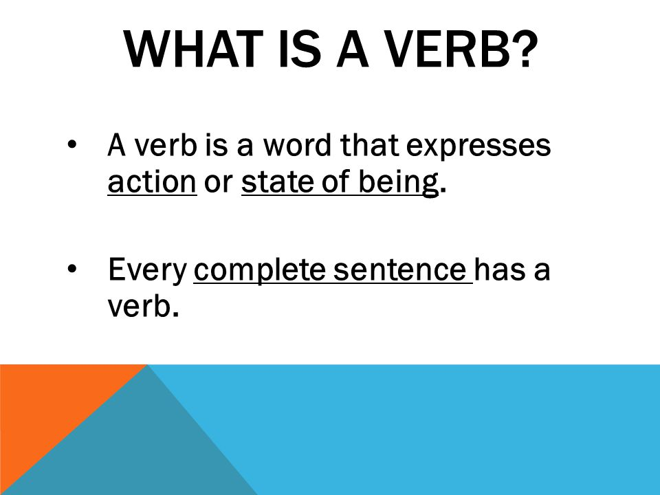 What is a verb. A verb is a word that expresses action or state of being.