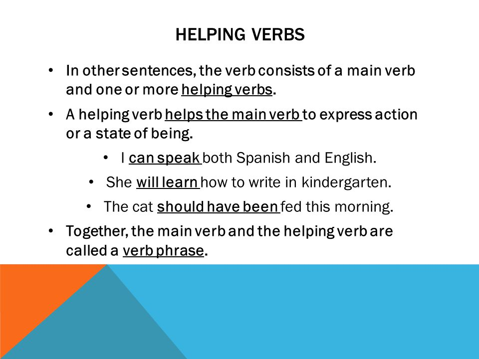 HELPING VERBS In other sentences, the verb consists of a main verb and one or more helping verbs.
