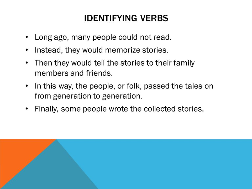 identifying verbs Long ago, many people could not read.