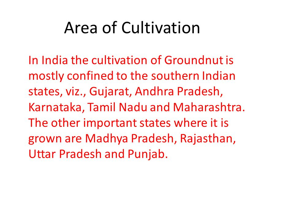 Area of Cultivation