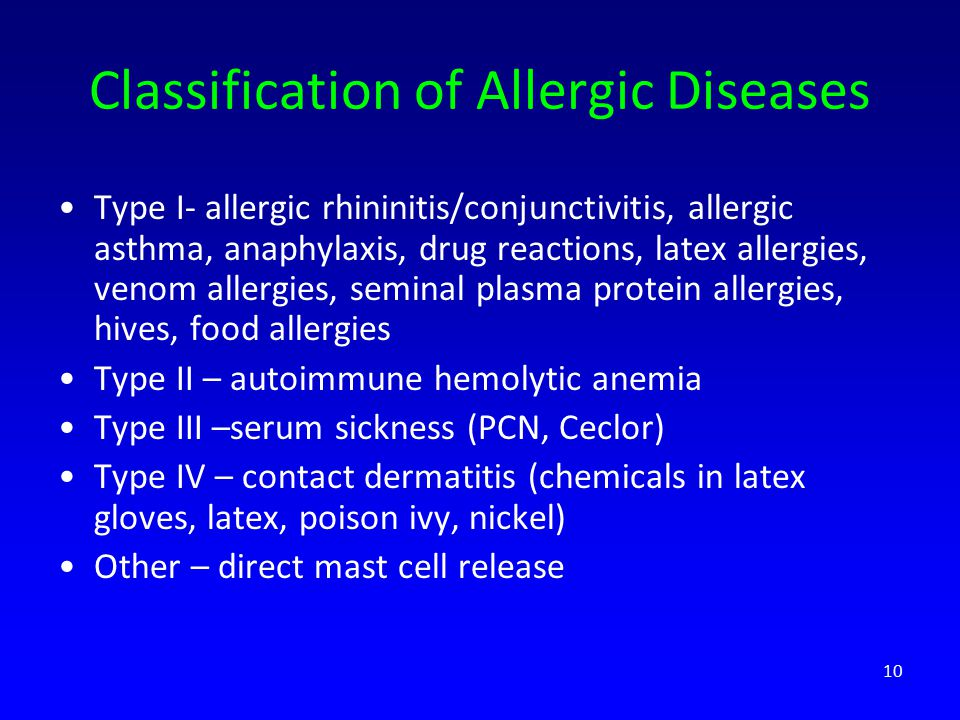 Classification of Allergic Diseases