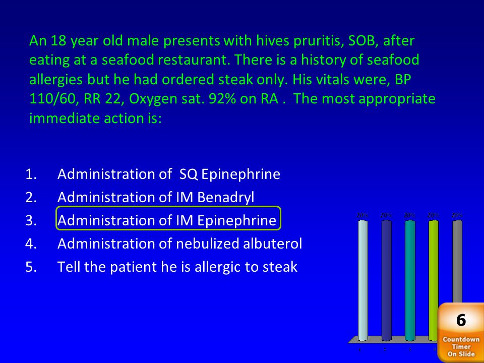 An 18 year old male presents with hives pruritis, SOB, after eating at a seafood restaurant. There is a history of seafood allergies but he had ordered steak only. His vitals were, BP 110/60, RR 22, Oxygen sat. 92% on RA . The most appropriate immediate action is: