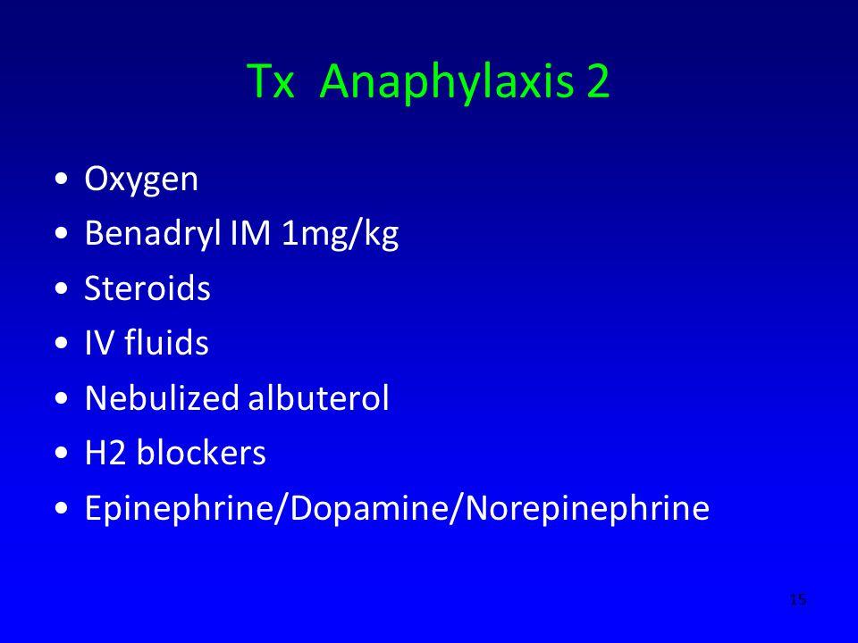 Tx Anaphylaxis 2 Oxygen Benadryl IM 1mg/kg Steroids IV fluids