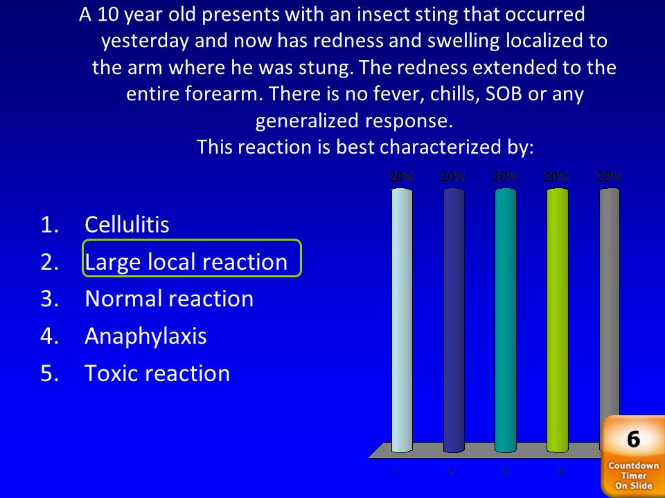 Cellulitis Large local reaction Normal reaction Anaphylaxis