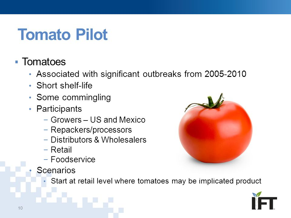 Tomato Pilot Tomatoes. Associated with significant outbreaks from 2005-2010. Short shelf-life. Some commingling.
