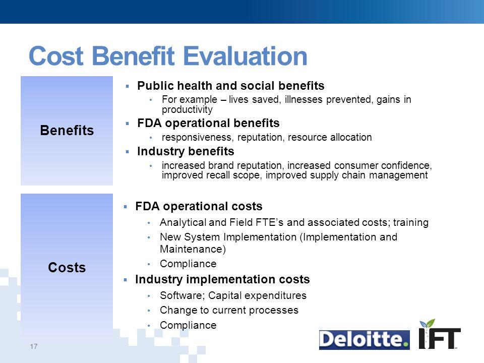 Cost Benefit Evaluation