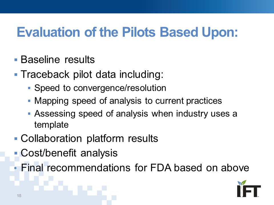 Evaluation of the Pilots Based Upon: