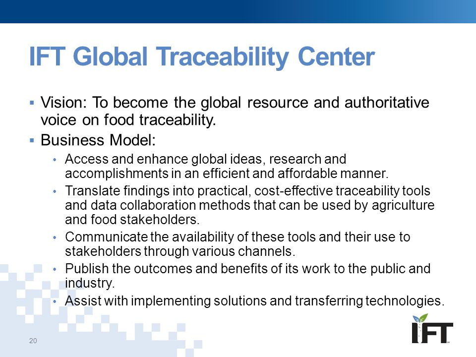 IFT Global Traceability Center