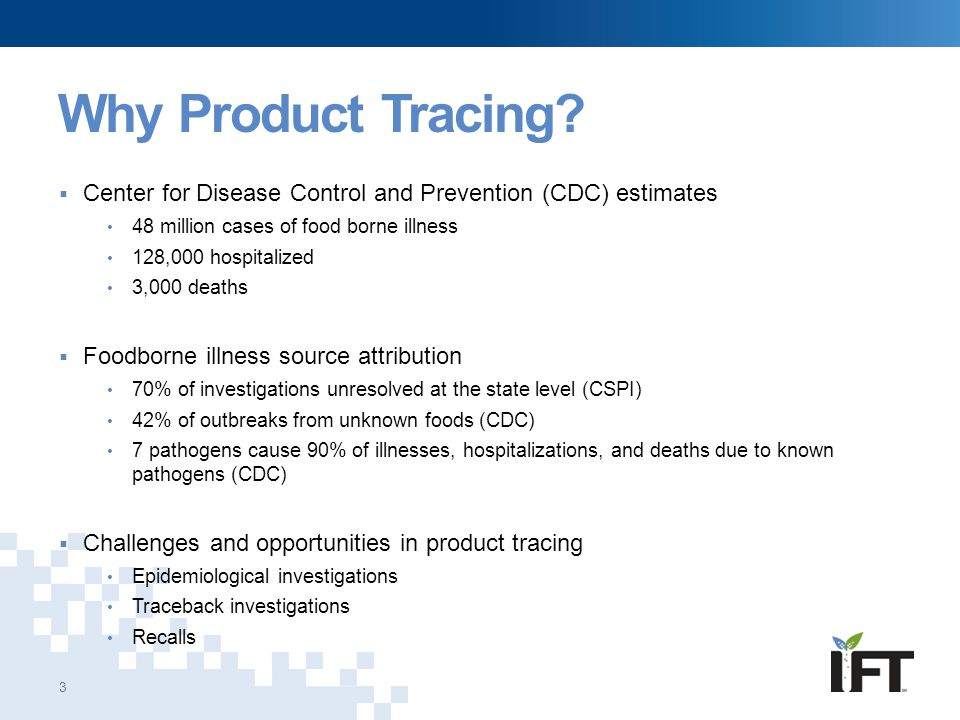 Why Product Tracing Center for Disease Control and Prevention (CDC) estimates. 48 million cases of food borne illness.
