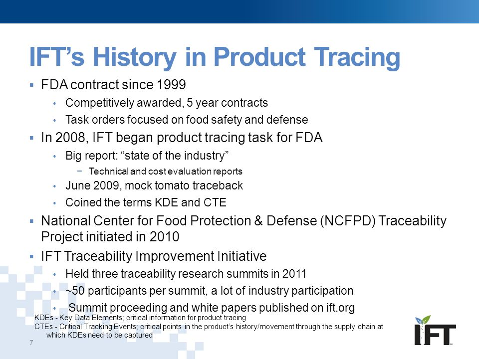 IFT's History in Product Tracing