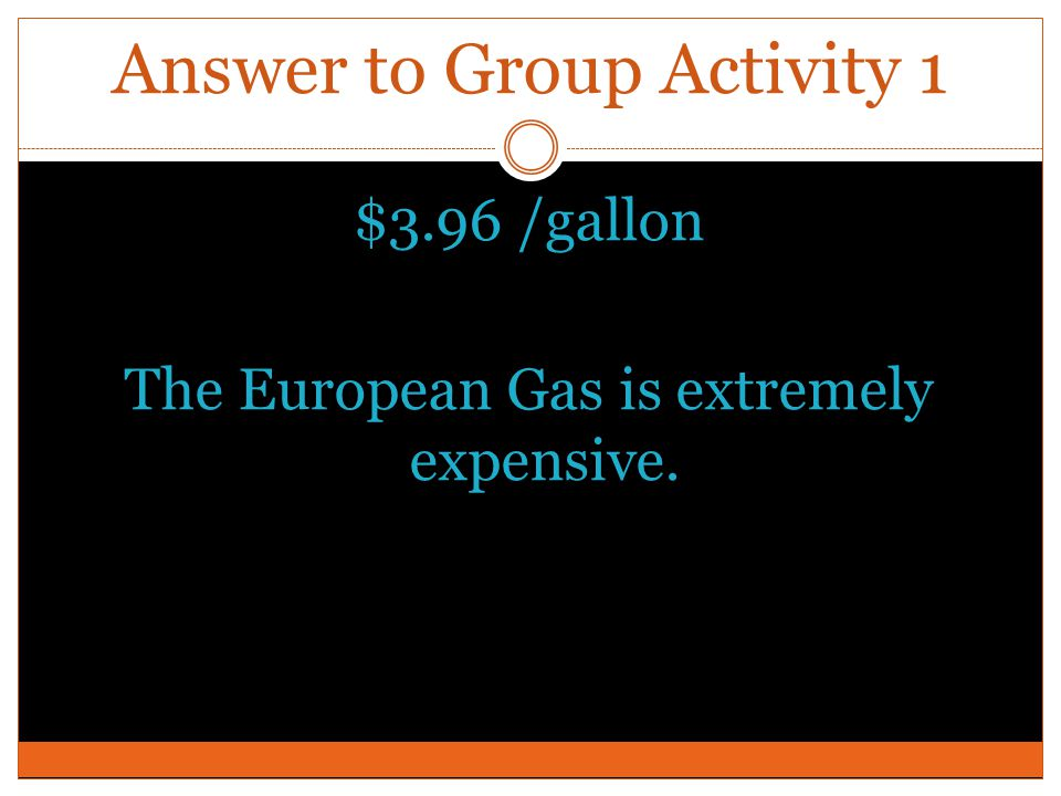 Answer to Group Activity 1