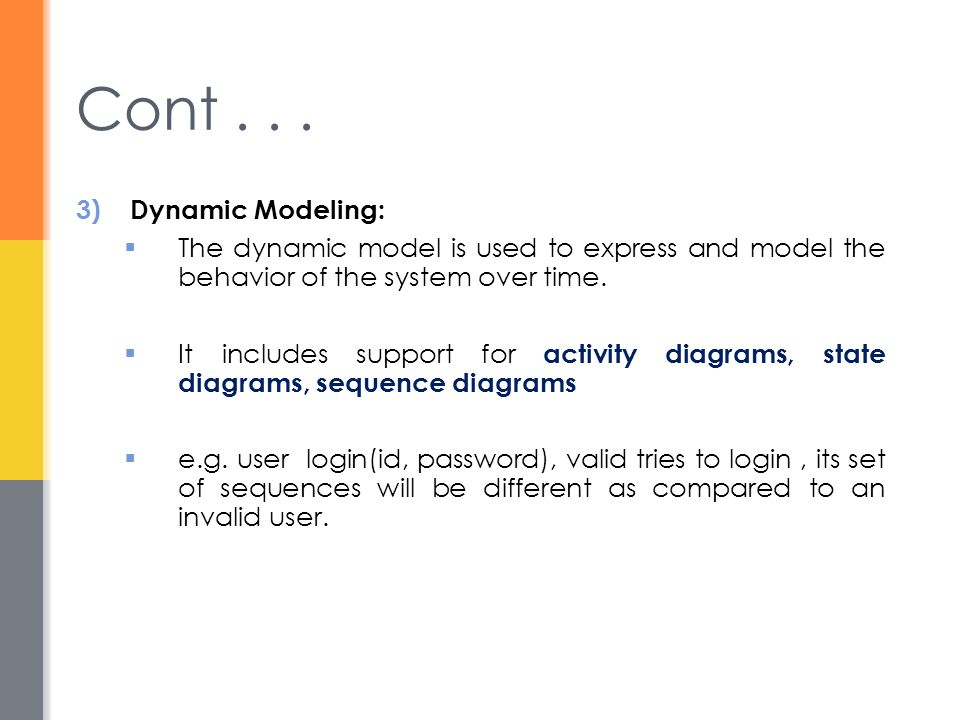Cont . . . Dynamic Modeling: