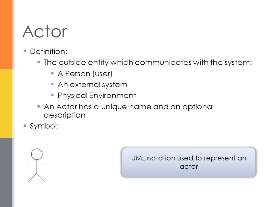 UML notation used to represent an actor