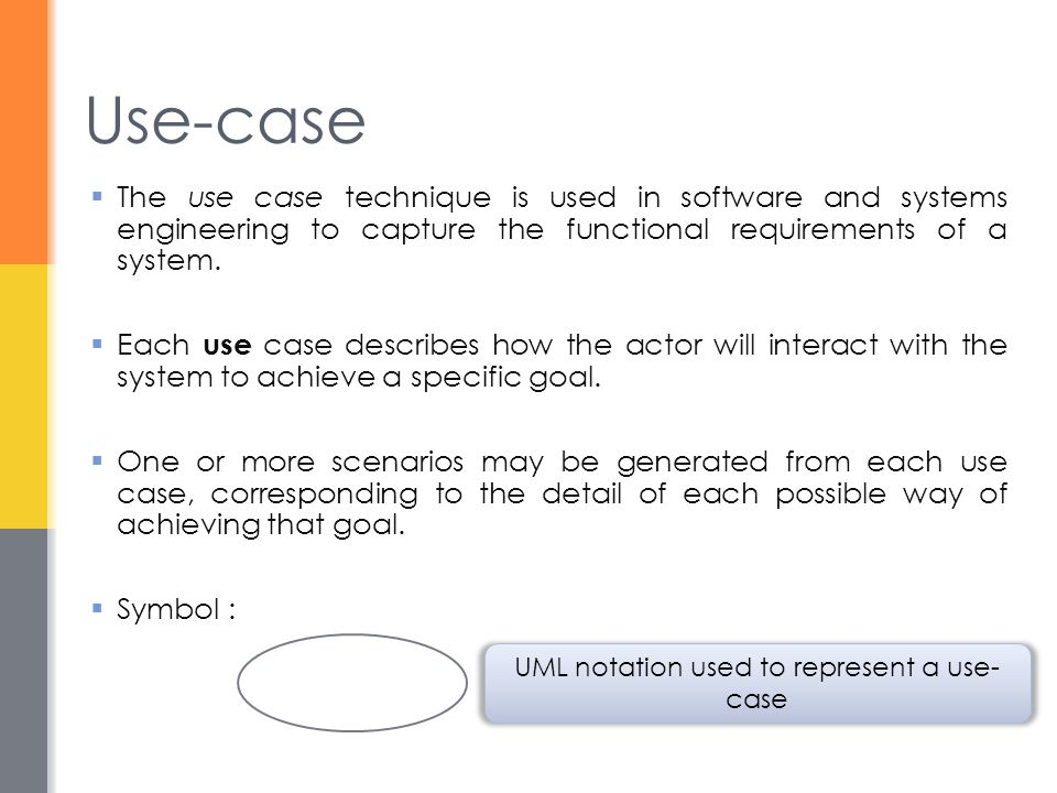 UML notation used to represent a use-case