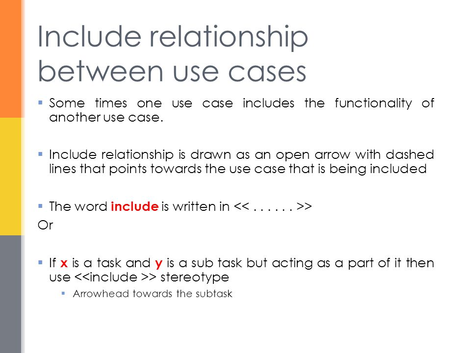include relationship use case example atm