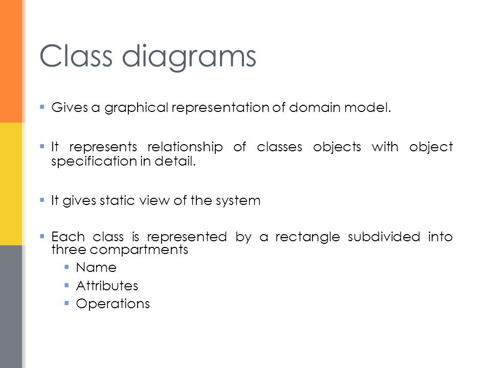Class diagrams Gives a graphical representation of domain model.
