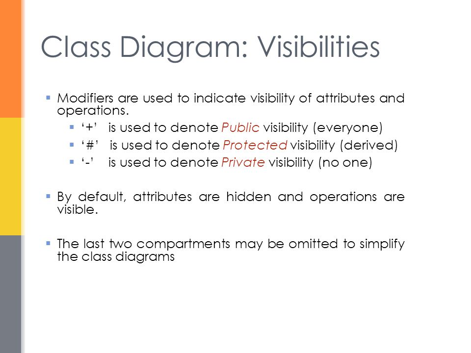 Class Diagram: Visibilities