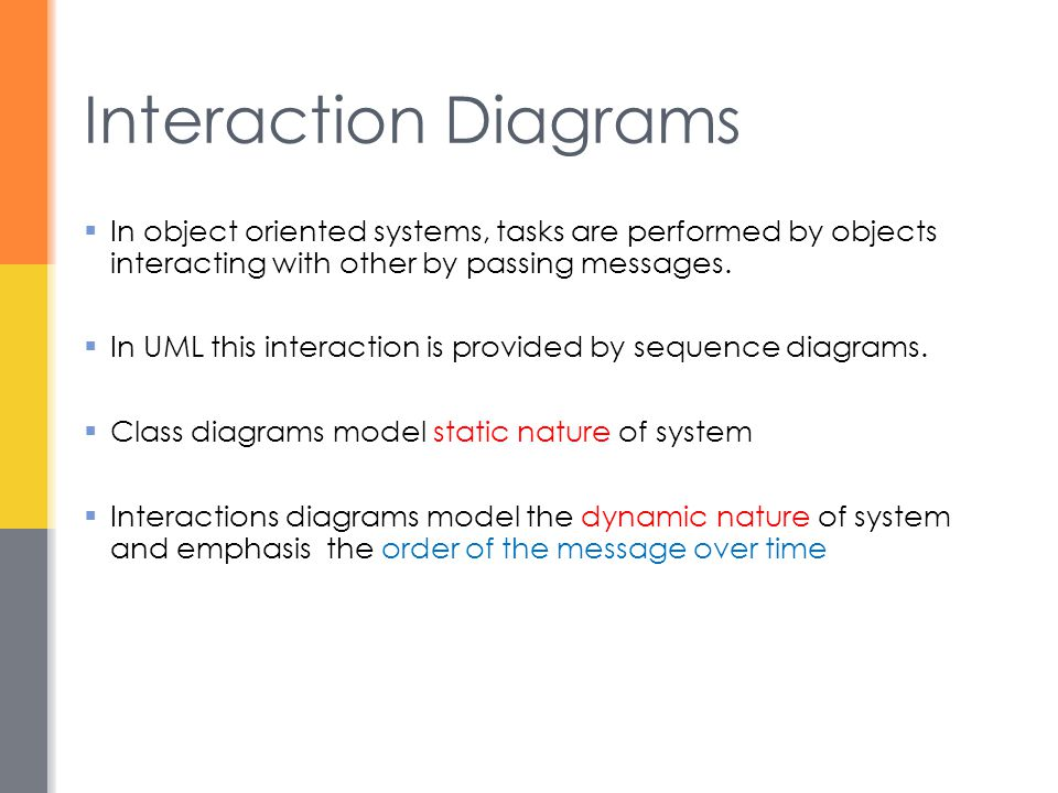 Interaction Diagrams In object oriented systems, tasks are performed by objects interacting with other by passing messages.