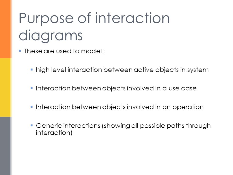 Purpose of interaction diagrams