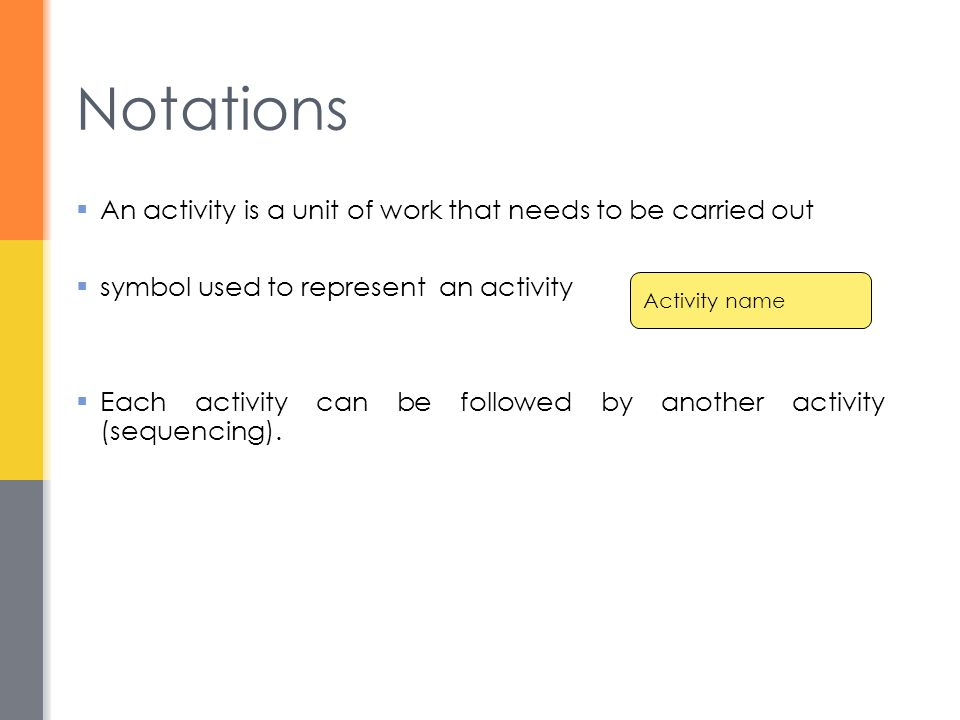 Notations An activity is a unit of work that needs to be carried out