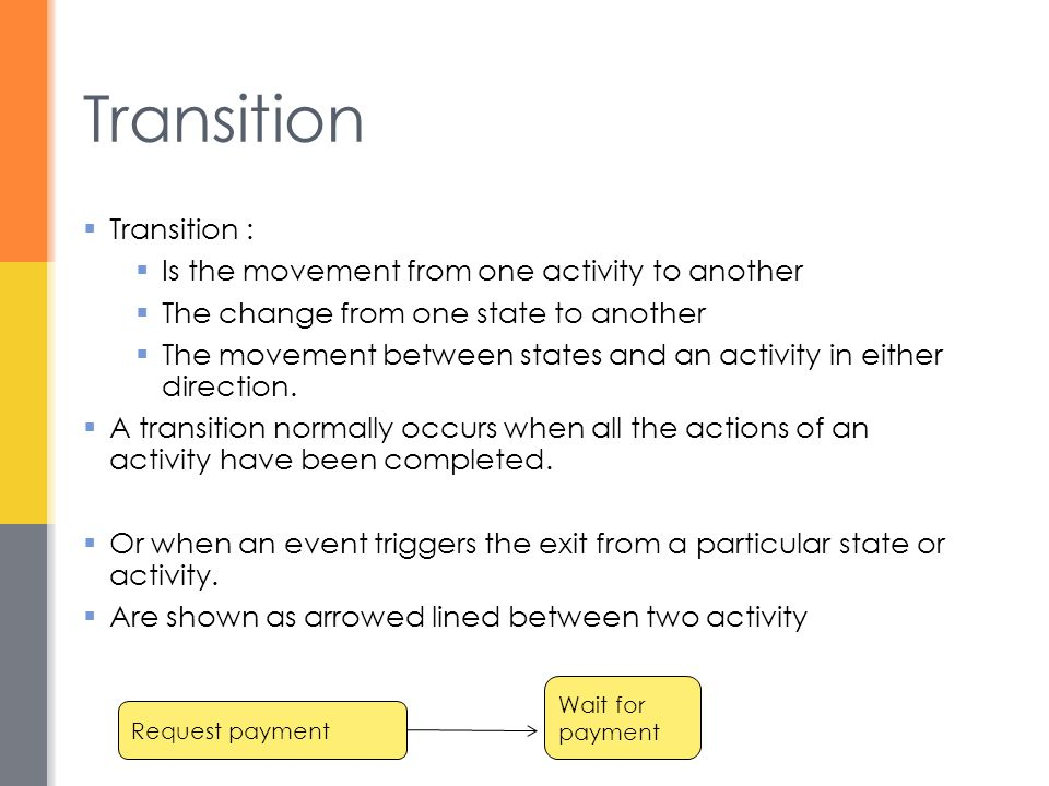 Transition Transition : Is the movement from one activity to another