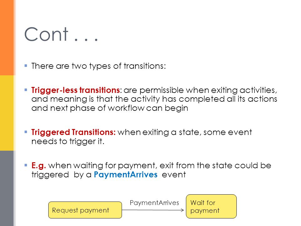 Cont . . . There are two types of transitions: