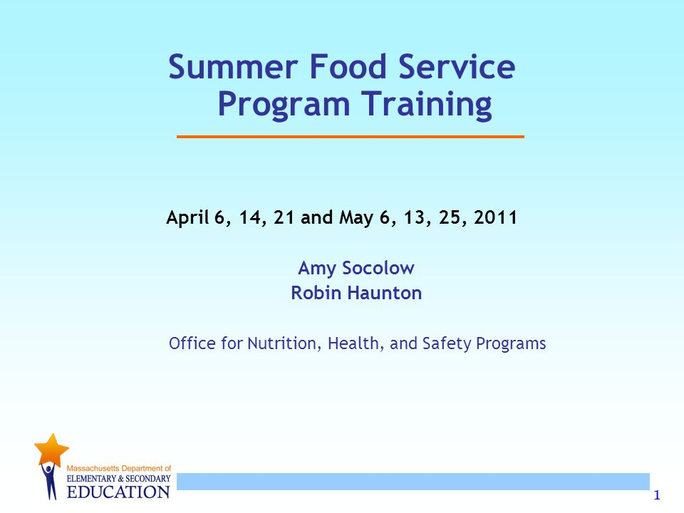 Summer Food Service Program Training
