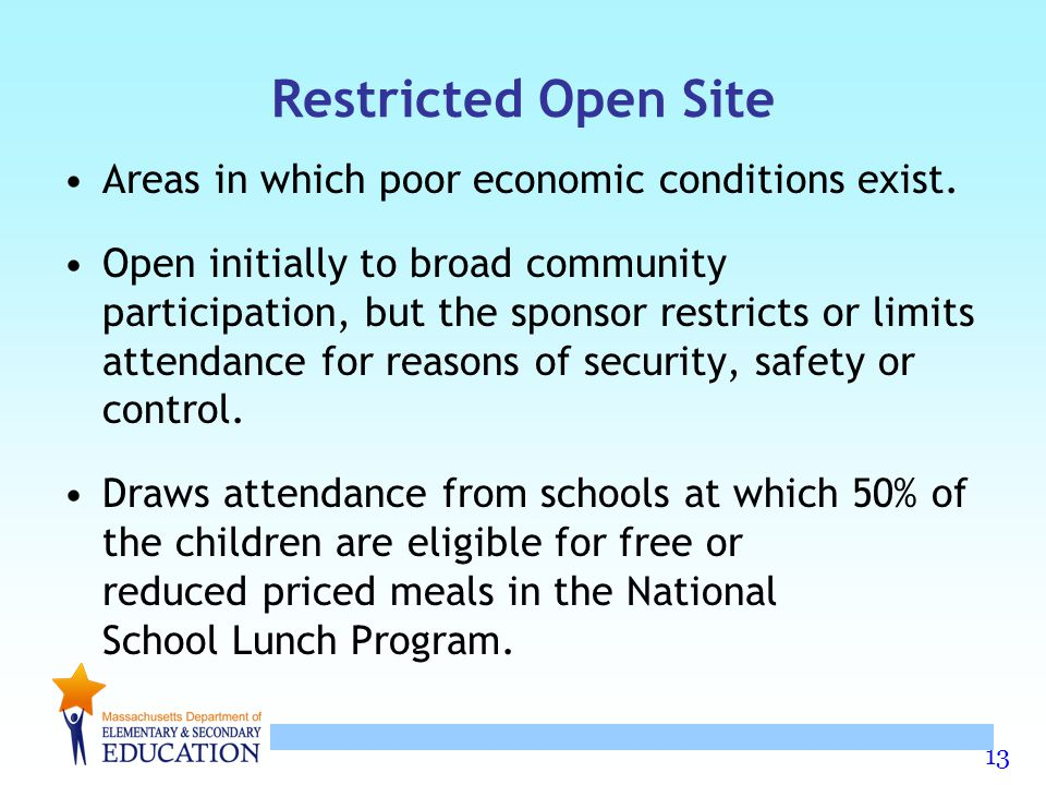 Restricted Open Site Areas in which poor economic conditions exist.