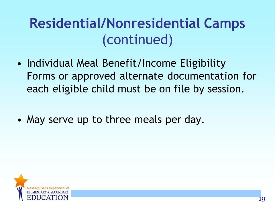 Residential/Nonresidential Camps (continued)