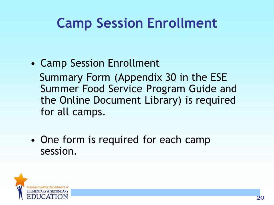 Camp Session Enrollment