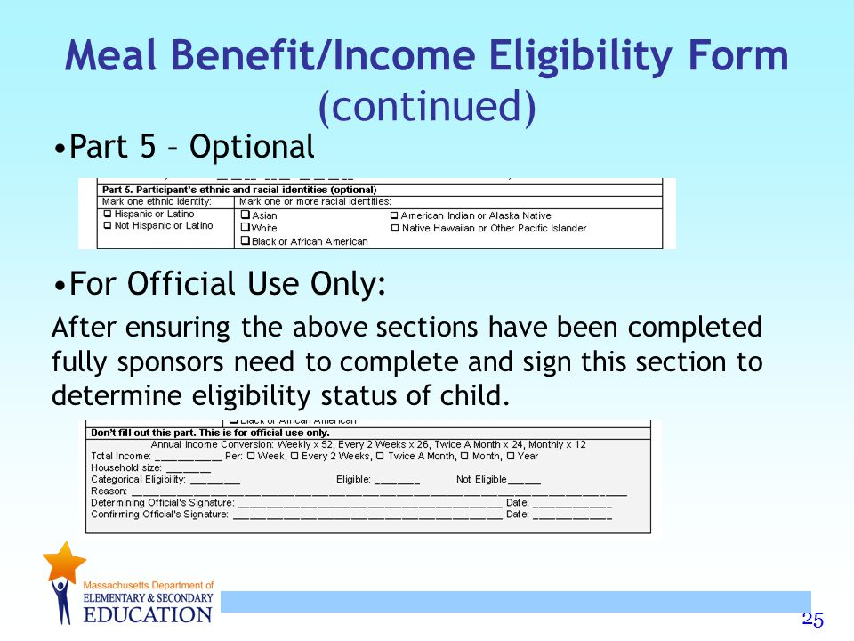 Meal Benefit/Income Eligibility Form (continued)