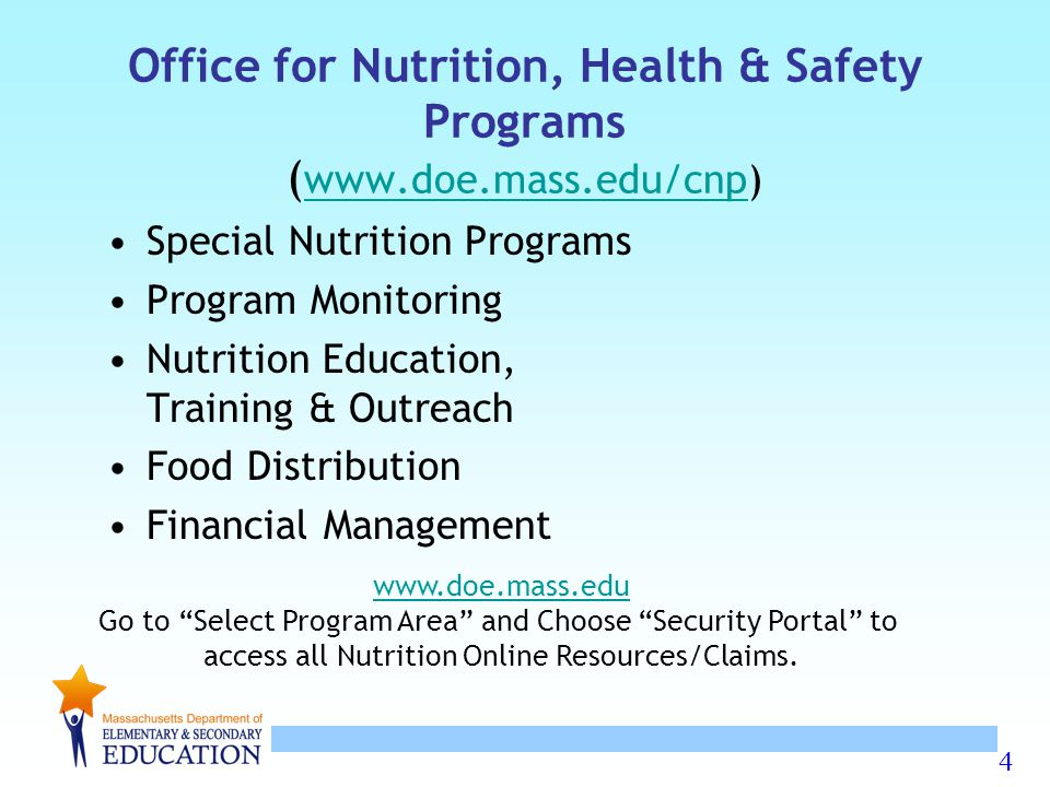 Office for Nutrition, Health & Safety Programs (www.doe.mass.edu/cnp)