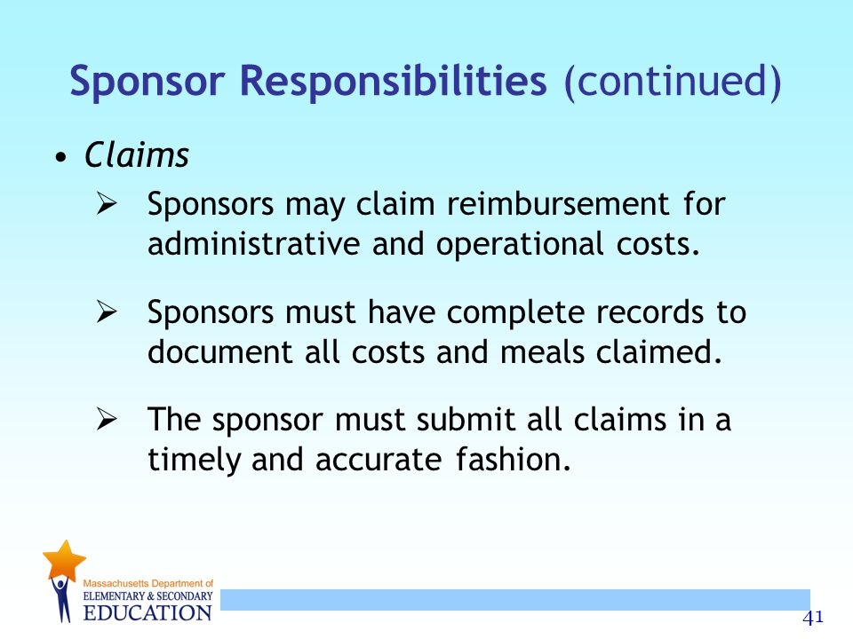 Sponsor Responsibilities (continued)