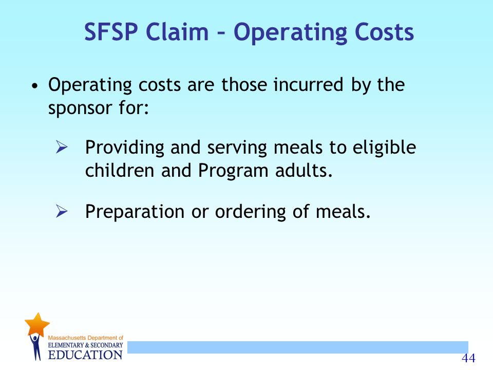 SFSP Claim – Operating Costs