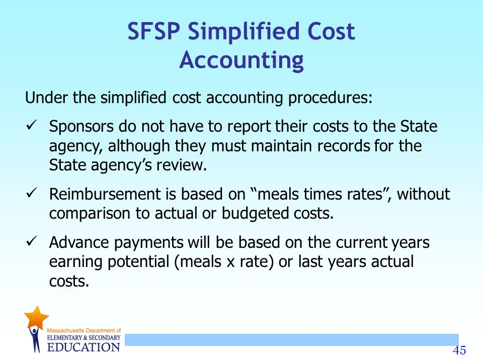 SFSP Simplified Cost Accounting