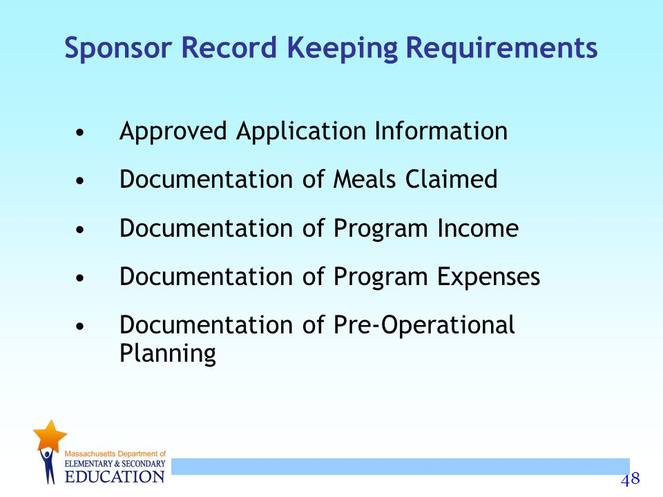 Sponsor Record Keeping Requirements
